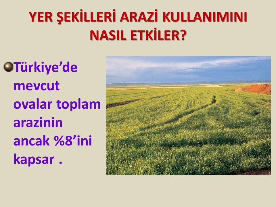 YER ŞEKİLLERİ ARAZİ KULLANIMINI NASIL ETKİLER? Türkiye'de mevcut ovalar toplam arazinin ancak %8'ini kapsar.