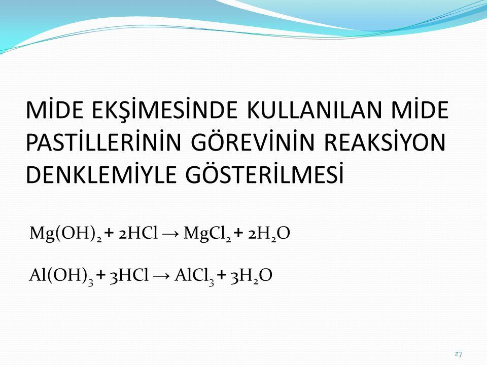 MİDE EKŞİMESİNDE KULLANILAN MİDE PASTİLLERİNİN GÖREVİNİN REAKSİYON DENKLEMİYLE GÖSTERİLMESİ Mg(OH) 2 + 2HCl → MgCl 2 + 2H 2 O Al(OH) 3 + 3HCl → AlCl 3 + 3H 2 O 27