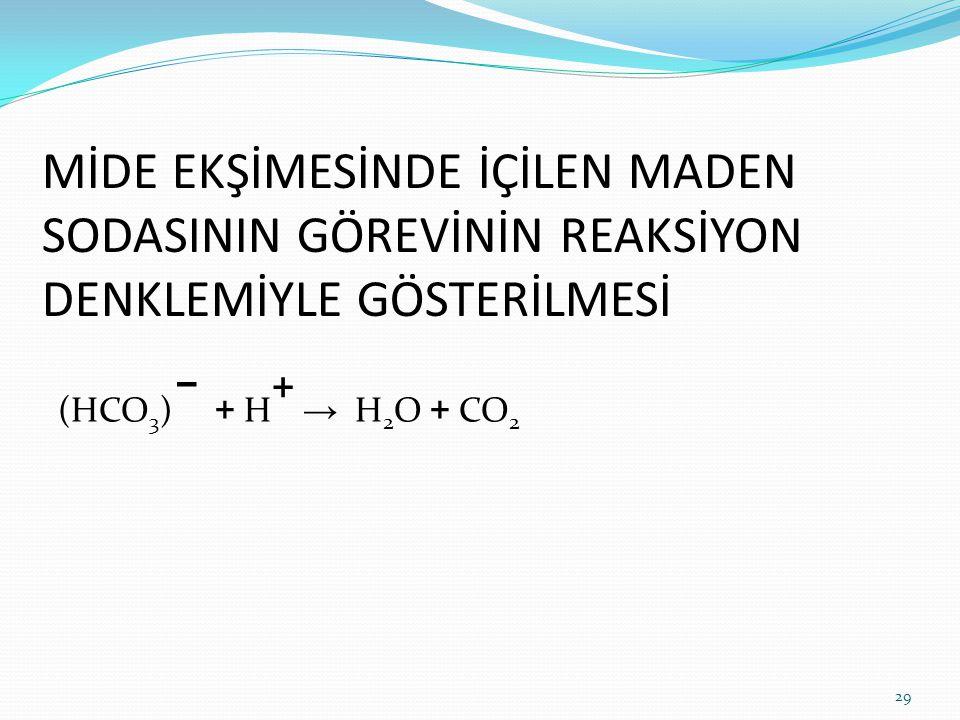 MİDE EKŞİMESİNDE İÇİLEN MADEN SODASININ GÖREVİNİN REAKSİYON DENKLEMİYLE GÖSTERİLMESİ (HCO 3 ) – + H + → H 2 O + CO 2 29