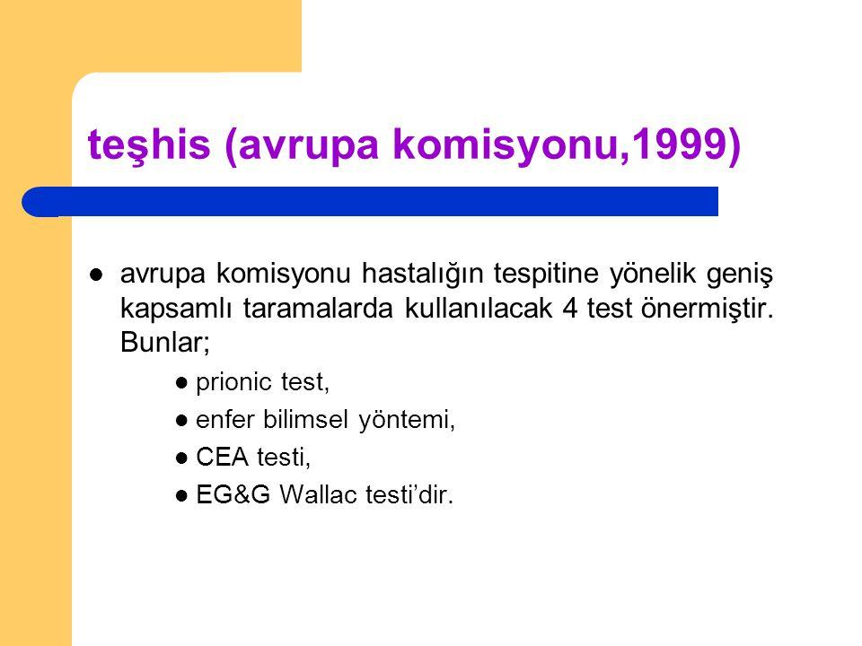 teşhis (avrupa komisyonu,1999) avrupa komisyonu hastalığın tespitine yönelik geniş kapsamlı taramalarda kullanılacak 4 test önermiştir. Bunlar; prioni