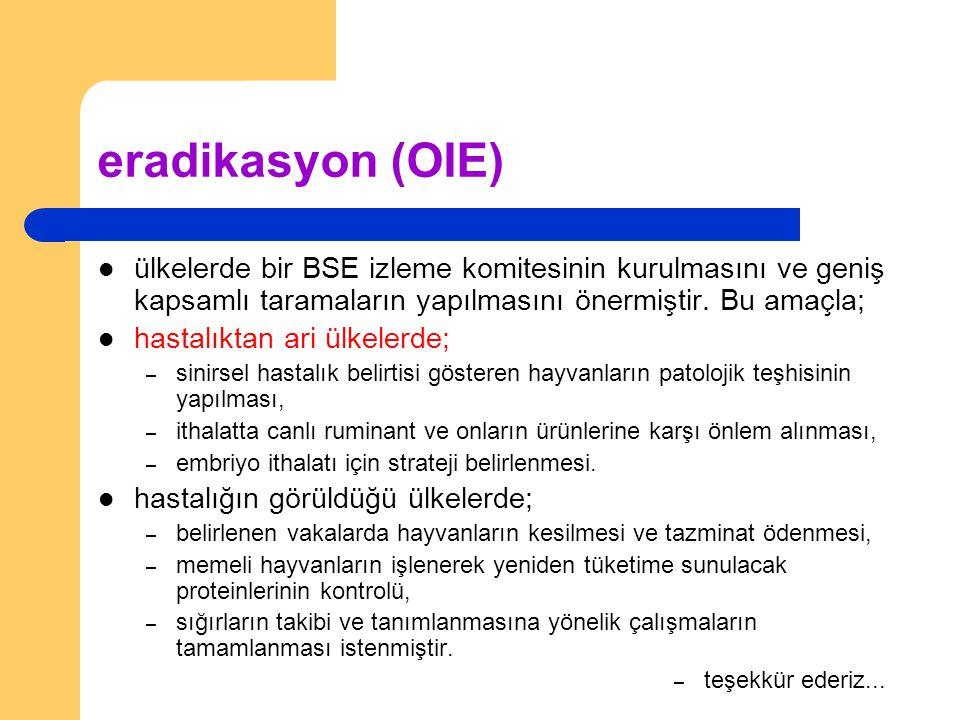 eradikasyon (OIE) ülkelerde bir BSE izleme komitesinin kurulmasını ve geniş kapsamlı taramaların yapılmasını önermiştir. Bu amaçla; hastalıktan ari ül