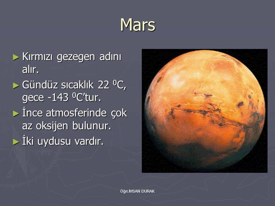 Öğrt.İHSAN DURAK Mars ► Kırmızı gezegen adını alır. ► Gündüz sıcaklık 22 0 C, gece -143 0 C'tur. ► İnce atmosferinde çok az oksijen bulunur. ► İki uyd
