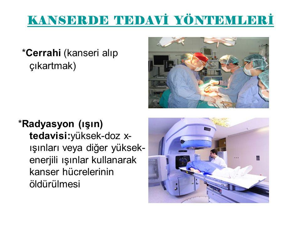 KANSERDE TEDAVİ YÖNTEMLERİ *Cerrahi (kanseri alıp çıkartmak) *Radyasyon (ışın) tedavisi:yüksek-doz x- ışınları veya diğer yüksek- enerjili ışınlar kullanarak kanser hücrelerinin öldürülmesi