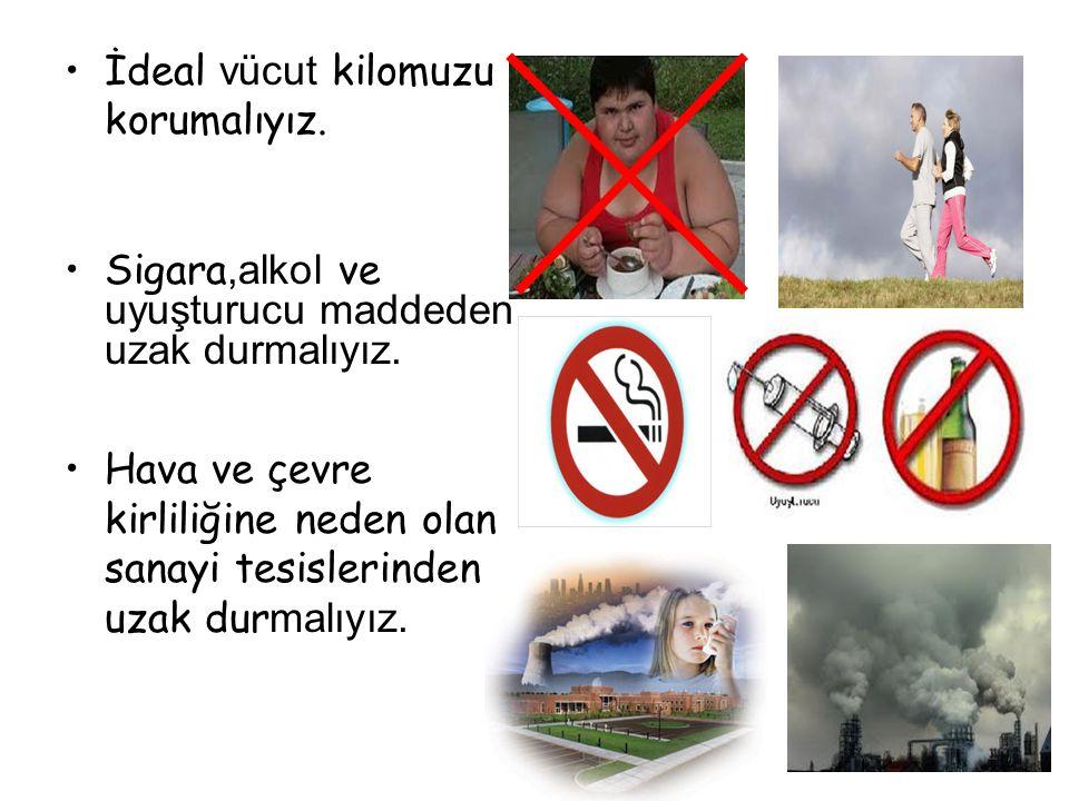 İdeal vücut kilomuzu korumalıyız.Sigara,alkol ve uyuşturucu maddeden uzak durmalıyız.