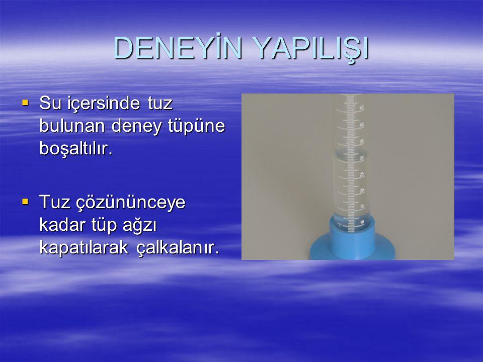 DENEY SONU DEĞERLENDİRME SORULARI 1.Tuz suda çözündükçe, ince cam borudaki su seviyesinin düşmesi neyi gösterir.