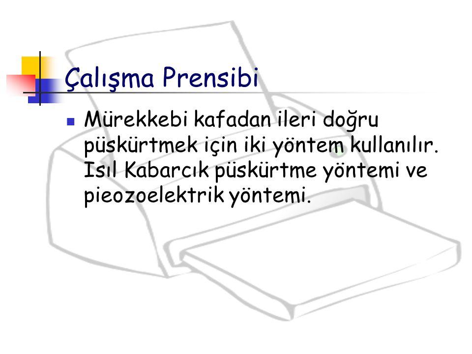 Çalışma Prensibi Mürekkebi kafadan ileri doğru püskürtmek için iki yöntem kullanılır. Isıl Kabarcık püskürtme yöntemi ve pieozoelektrik yöntemi.