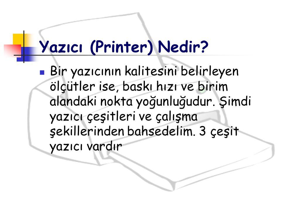 Çalışma Prensibi Lazer yazıcı bütün sayfayı bir kerede basmak için geniş bir bellek kullanır.