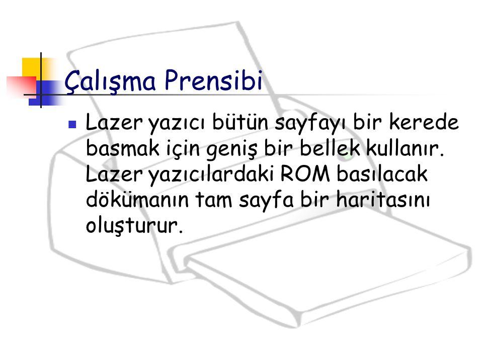 Çalışma Prensibi Lazer yazıcı bütün sayfayı bir kerede basmak için geniş bir bellek kullanır. Lazer yazıcılardaki ROM basılacak dökümanın tam sayfa bi