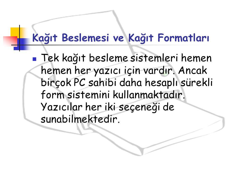 Kağıt Beslemesi ve Kağıt Formatları Tek kağıt besleme sistemleri hemen hemen her yazıcı için vardır. Ancak birçok PC sahibi daha hesaplı sürekli form