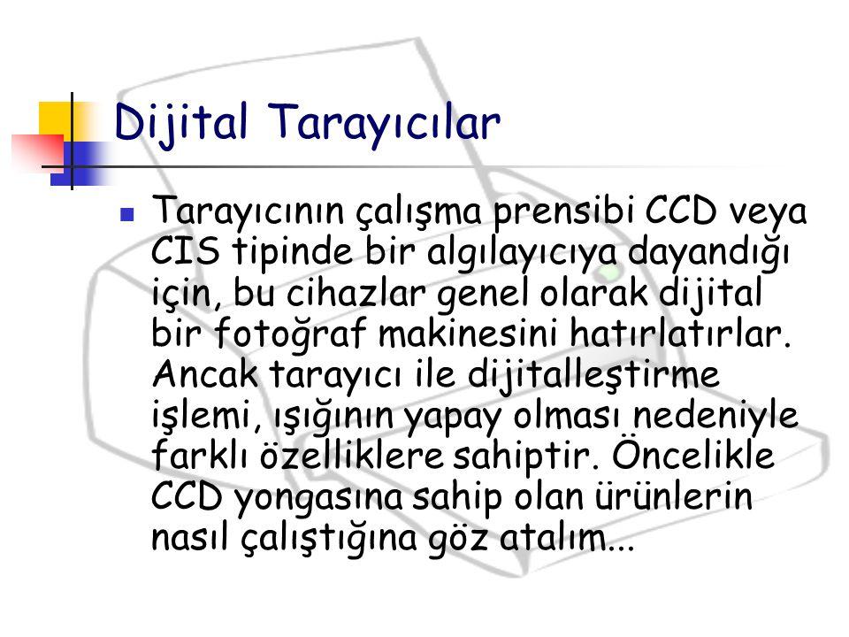 Dijital Tarayıcılar Tarayıcının çalışma prensibi CCD veya CIS tipinde bir algılayıcıya dayandığı için, bu cihazlar genel olarak dijital bir fotoğraf m