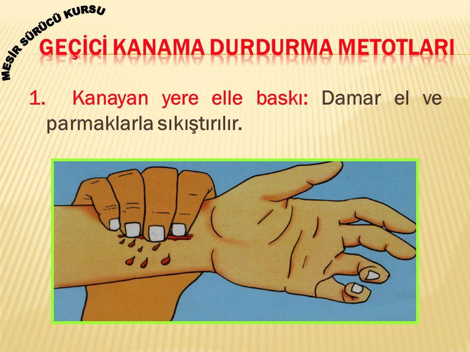 1. Kanayan yere elle baskı: Damar el ve parmaklarla sıkıştırılır.