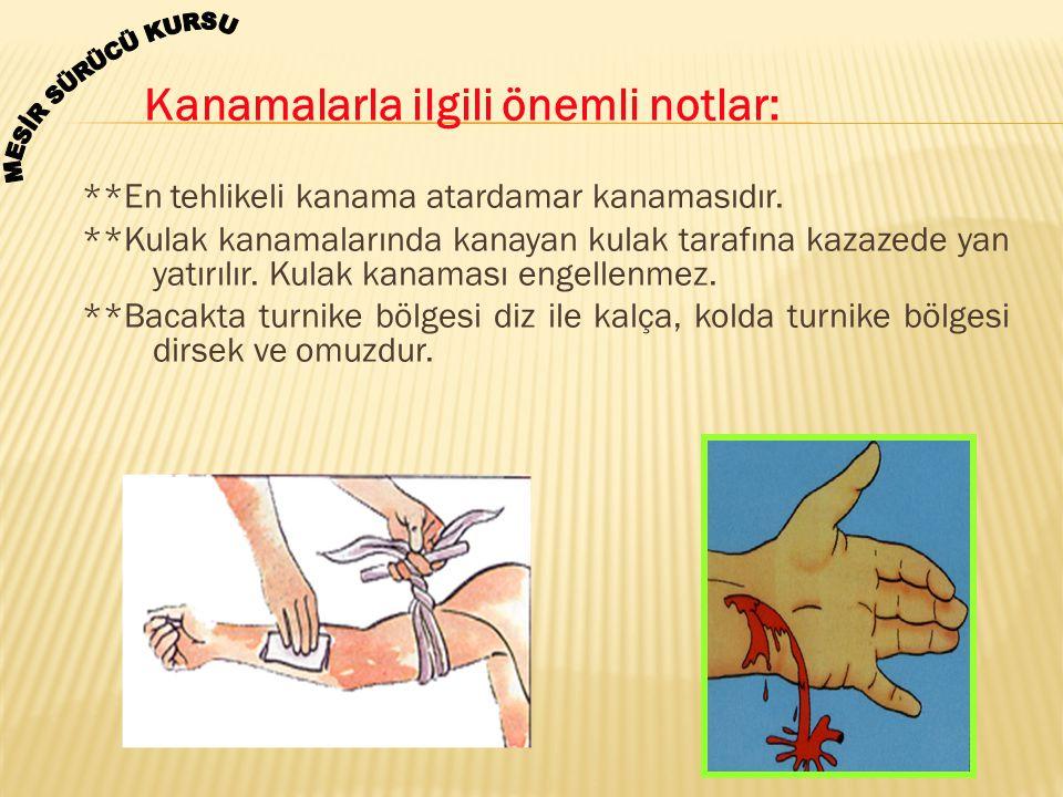 Kanamalarla ilgili önemli notlar: **En tehlikeli kanama atardamar kanamasıdır. **Kulak kanamalarında kanayan kulak tarafına kazazede yan yatırılır. Ku