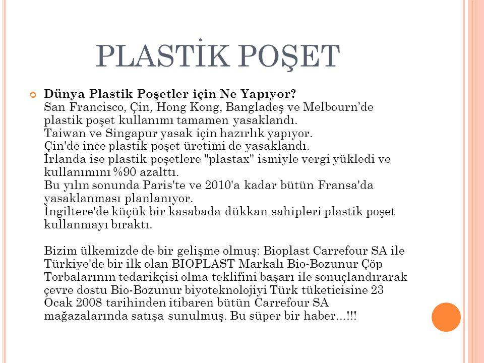 PLASTİK POŞET Dünya Plastik Poşetler için Ne Yapıyor.