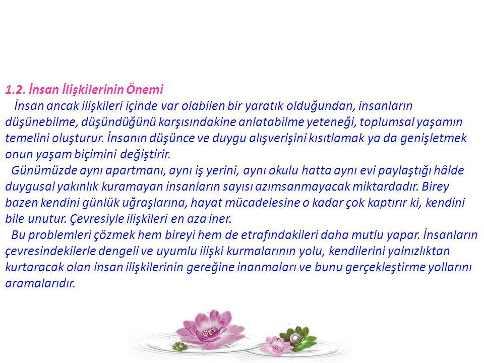 2.İŞ HAYATINDA İNSAN İLİŞKİLERİ 2.1.