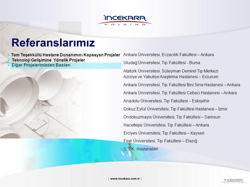 Referanslarımız Ankara Üniversitesi, Eczacılık Fakültesi – Ankara Uludağ Üniversitesi, Tıp Fakültesi - Bursa Atatürk Üniversitesi, Süleyman Demirel Tı