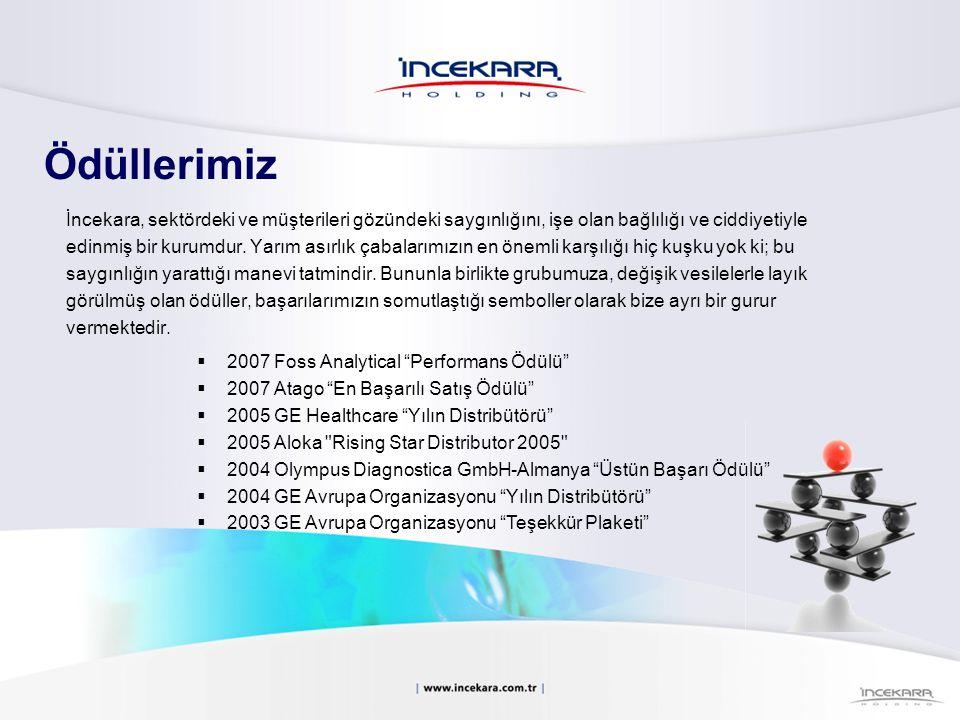  2002 Olympus Diagnostica GmbH-Almanya Üstün Başarı Ödülü  2002 Foss-İsveç %110 Kulübü üyeliğine kabul  2001 Shimadzu-Japonya Shimadzu Üstün Performans Ödülü  2001 Kendro-Almanya Kendro Satış Ödülü 2001  2001 İstanbul Ticaret Odası Takdir Beratı  2000 Olympus Diagnostica GmbH-Almanya Yılın Distribütörü  2000 İstanbul Ticaret Odası Takdir Beratı  1999 İstanbul Ticaret Odası Takdir Beratı  1998 İstanbul Ticaret Odası Takdir Beratı  1997 Olympus Diagnostica GmbH-Almanya Yılın Distribütörü