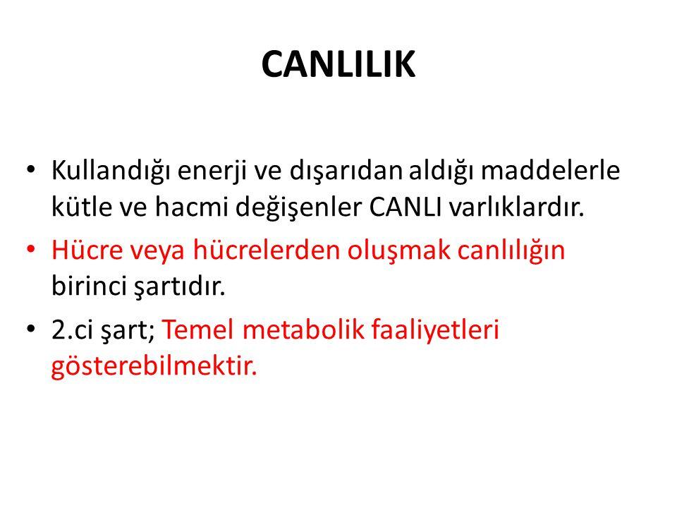 CANLILIK Kullandığı enerji ve dışarıdan aldığı maddelerle kütle ve hacmi değişenler CANLI varlıklardır.