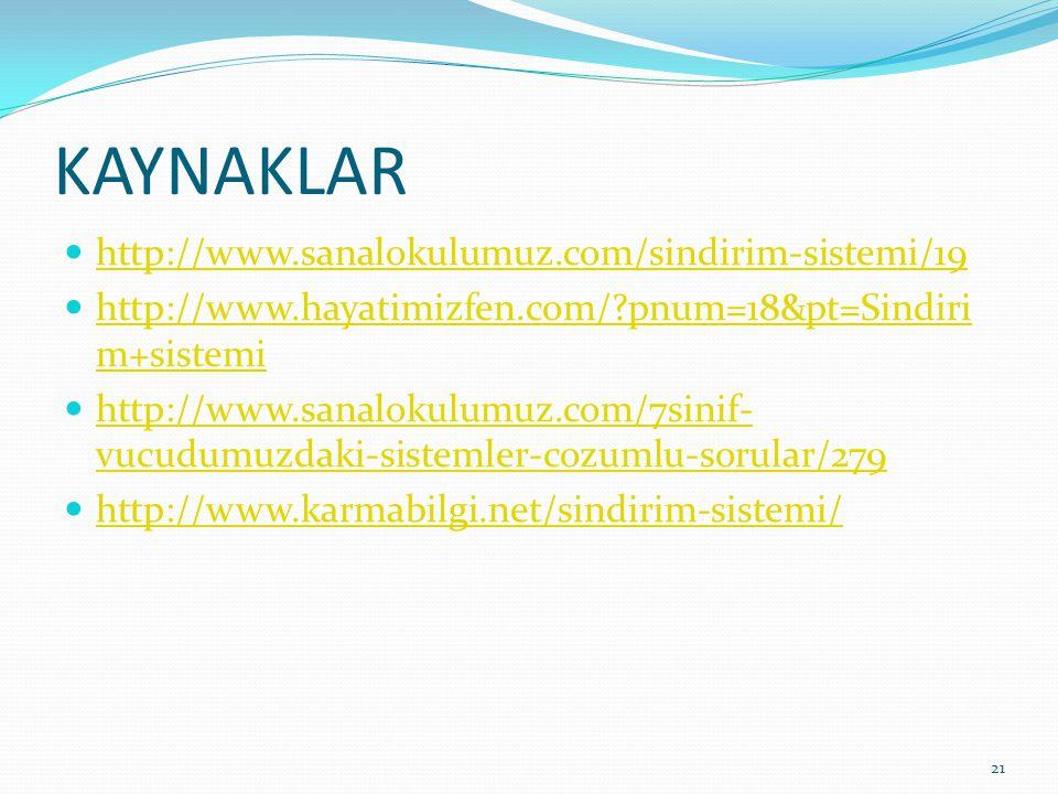 KAYNAKLAR http://www.sanalokulumuz.com/sindirim-sistemi/19 http://www.hayatimizfen.com/?pnum=18&pt=Sindiri m+sistemi http://www.hayatimizfen.com/?pnum=18&pt=Sindiri m+sistemi http://www.sanalokulumuz.com/7sinif- vucudumuzdaki-sistemler-cozumlu-sorular/279 http://www.sanalokulumuz.com/7sinif- vucudumuzdaki-sistemler-cozumlu-sorular/279 http://www.karmabilgi.net/sindirim-sistemi/ 21