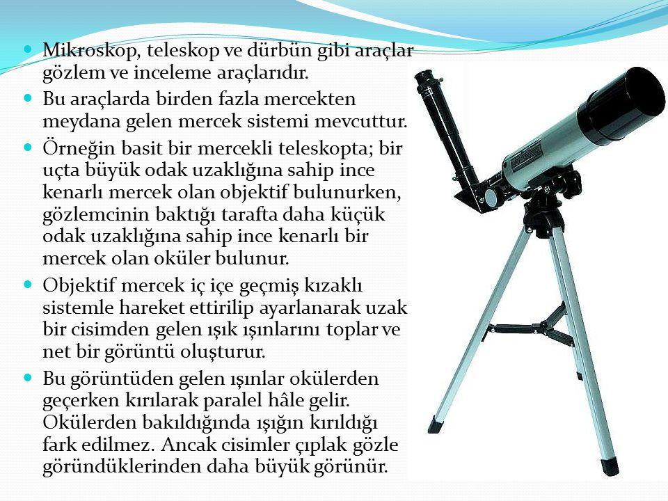 Mikroskop, teleskop ve dürbün gibi araçlar gözlem ve inceleme araçlarıdır. Bu araçlarda birden fazla mercekten meydana gelen mercek sistemi mevcuttur.
