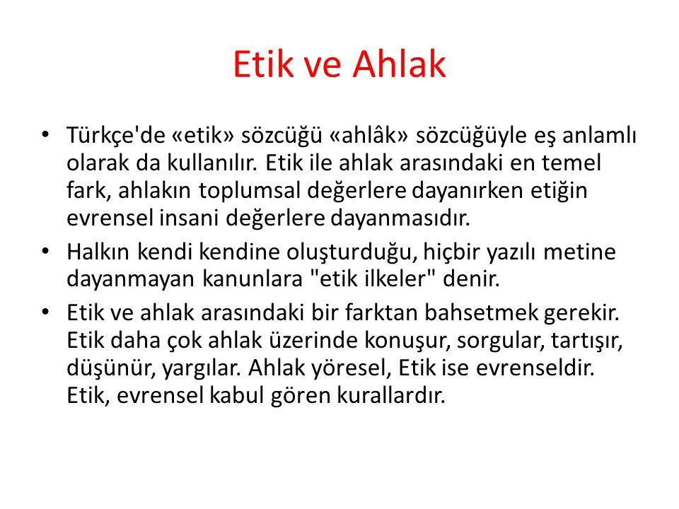 Etik ve Ahlak Türkçe'de «etik» sözcüğü «ahlâk» sözcüğüyle eş anlamlı olarak da kullanılır. Etik ile ahlak arasındaki en temel fark, ahlakın toplumsal