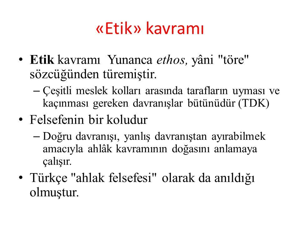 «Etik» kavramı Etik kavramı Yunanca ethos, yâni