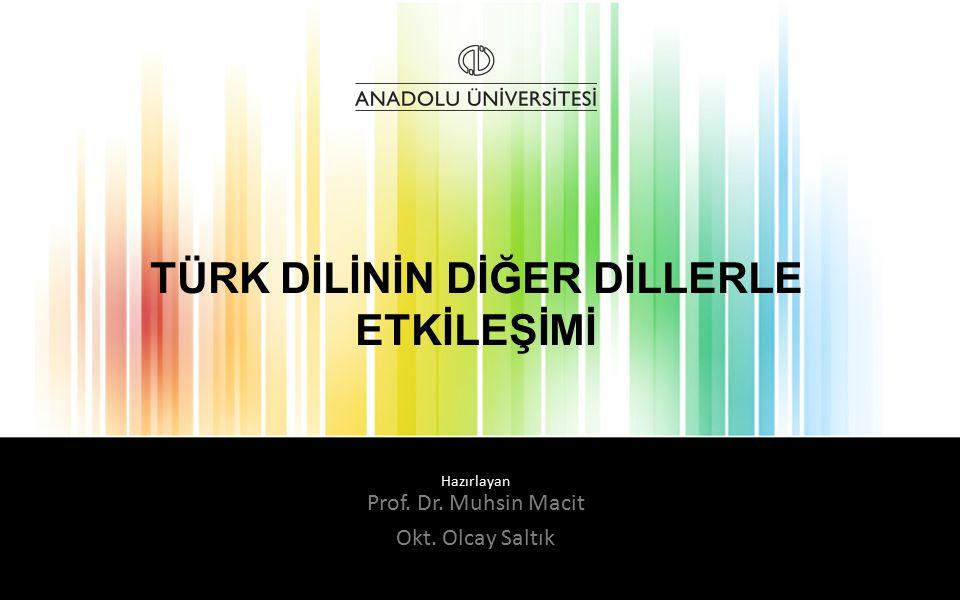 Hazırlayan TÜRK DİLİNİN DİĞER DİLLERLE ETKİLEŞİMİ Prof. Dr. Muhsin Macit Okt. Olcay Saltık