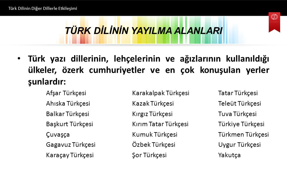 TÜRK DİLİNİN YAYILMA ALANLARI Türk yazı dillerinin, lehçelerinin ve ağızlarının kullanıldığı ülkeler, özerk cumhuriyetler ve en çok konuşulan yerler ş