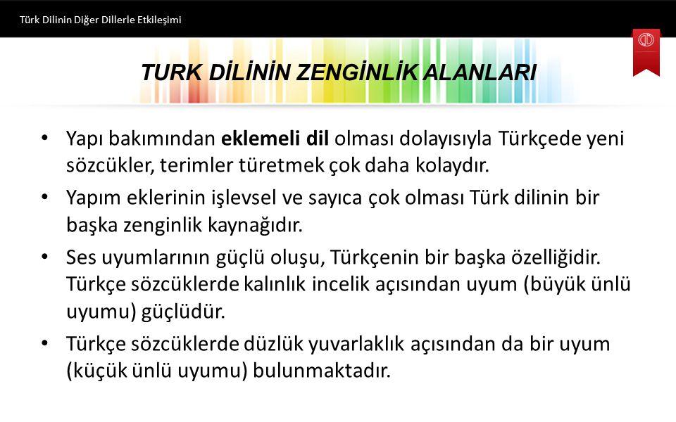 TURK DİLİNİN ZENGİNLİK ALANLARI Yapı bakımından eklemeli dil olması dolayısıyla Türkçede yeni sözcükler, terimler türetmek çok daha kolaydır. Yapım ek