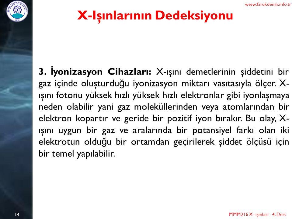 14 MMM216 X- ışınları 4. Ders www.farukdemir.info.tr X-Işınlarının Dedeksiyonu 3. İ yonizasyon Cihazları: X-ışını demetlerinin şiddetini bir gaz içind