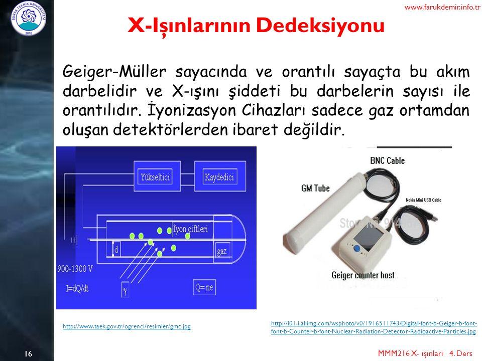 16 MMM216 X- ışınları 4. Ders www.farukdemir.info.tr X-Işınlarının Dedeksiyonu Geiger-Müller sayacında ve orantılı sayaçta bu akım darbelidir ve X-ışı