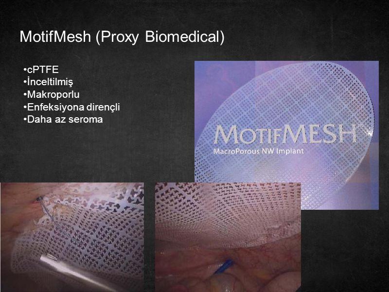 30 MotifMesh (Proxy Biomedical) cPTFE İnceltilmiş Makroporlu Enfeksiyona dirençli Daha az seroma
