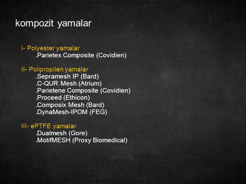kompozit yamalar I- Polyester yamalar Parietex Composite (Covidien) II- Polipropilen yamalar Sepramesh IP (Bard) C-QUR Mesh (Atrium) Parietene Composi