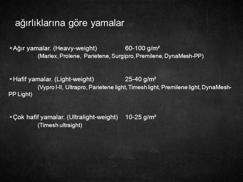 ağırlıklarına göre yamalar Ağır yamalar. (Heavy-weight)60-100 g/m² (Marlex, Prolene, Parietene, Surgipro, Premilene, DynaMesh-PP) Hafif yamalar. (Ligh