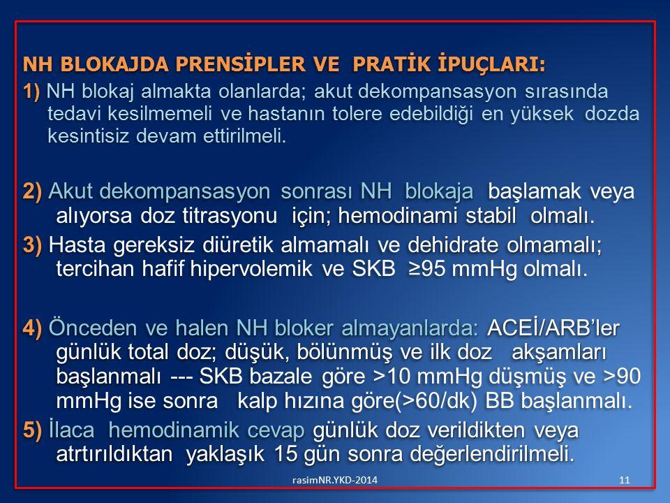 NH BLOKAJDA PRENSİPLER VE PRATİK İPUÇLARI: 1) 1) NH blokaj almakta olanlarda; akut dekompansasyon sırasında tedavi kesilmemeli ve hastanın tolere edeb