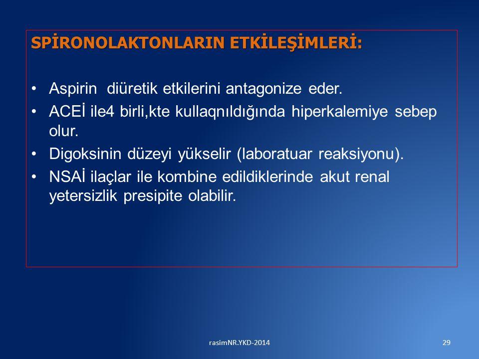SPİRONOLAKTONLARIN ETKİLEŞİMLERİ: Aspirin diüretik etkilerini antagonize eder.