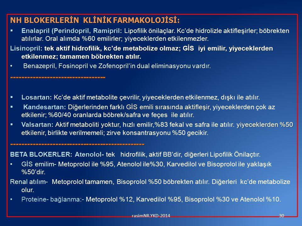 NH BLOKERLERİN KLİNİK FARMAKOLOJİSİ:  Enalapril (Perindopril, Ramipril:  Enalapril (Perindopril, Ramipril: Lipofilik önilaçlar. Kc'de hidrolizle akt