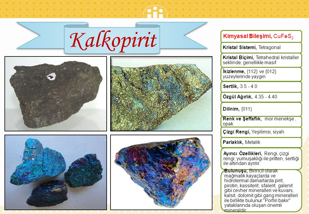 Klorit Kimyasal Bileşimi, (Mg,Fe,Al,)6 (Si,Al)4O10 (OH) 8 Kristal Sistemi, Monoklinik Kristal Biçimi, Kristalleri levhamsı, pseudo-hegzagonal, bazen prizmatik; masif, toprağımsı Sertlik, 2 – 3 Özgül Ağırlık, 2.6 - 3.3 Dilinim, {001} mükemmel Renk ve Şeffaflık, Yeşil; sarı, kahverengi Parlaklık, Camsı Ayırıcı Özellikleri, Tipik yeşil rengi, dilinimi, elastik olmayan yapraklanması Bulunuşu, Klorit, magmatik kayalarda, piroksen, amfibol ve mika minerallerinin alterasyonu ile olusur.