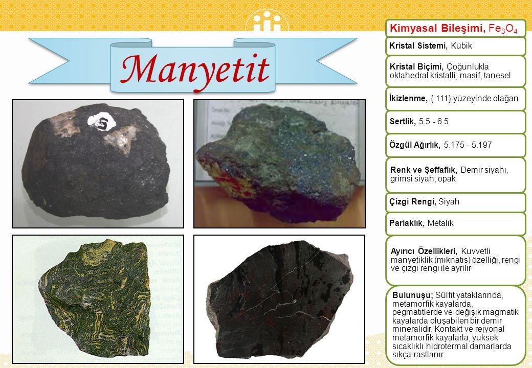 Kromit Kimyasal Bileşimi, FeCr2O 4 Kristal Sistemi, Kübik Kristal Biçimi, Çok nadir bulunan kristalleri oktahedral;masif,tanesel Sertlik, 5.5 Özgül Ağırlık, 4.5 - 4.8 Renk ve Şeffaflık, Siyah; opak Çizgi Rengi, Kahverengi Parlaklık, Metalik Ayırıcı Özellikleri, Çizgi rengi ve zayıf manyetiklik özelliği Bulunuşu, Kromit, peridotit ve diğer ultrabazik kayalar ile serpantinitlerde yaygın olarak bulunur.