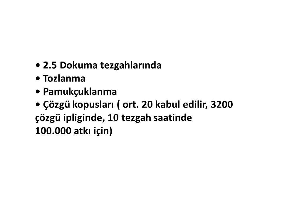 2.5 Dokuma tezgahlarında Tozlanma Pamukçuklanma Çözgü kopusları ( ort. 20 kabul edilir, 3200 çözgü ipliginde, 10 tezgah saatinde 100.000 atkı için)