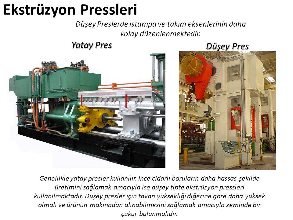 Ekstrüzyon Pressleri Genellikle yatay presler kullanılır. Ince cidarlı boruların daha hassas şekilde üretimini sağlamak amacıyla ise düşey tipte ekstr