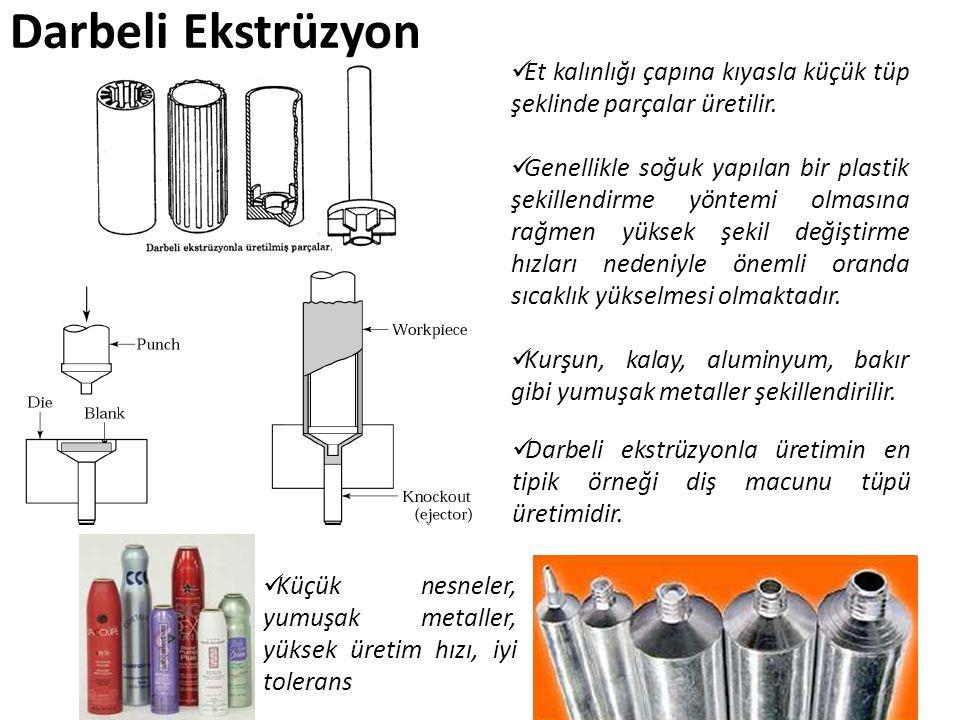 Darbeli Ekstrüzyon Et kalınlığı çapına kıyasla küçük tüp şeklinde parçalar üretilir. Genellikle soğuk yapılan bir plastik şekillendirme yöntemi olması