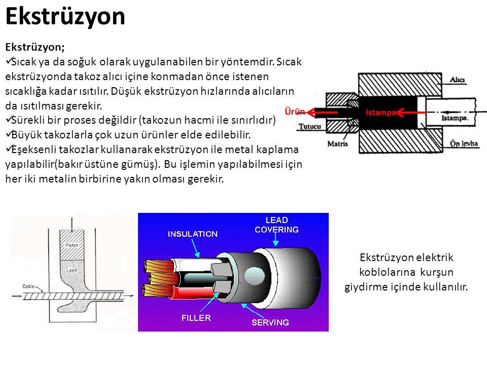 Ekstrüzyon Ekstrüzyon; Sıcak ya da soğuk olarak uygulanabilen bir yöntemdir. Sıcak ekstrüzyonda takoz alıcı içine konmadan önce istenen sıcaklığa kada