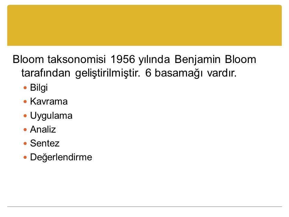 Bloom taksonomisi 1956 yılında Benjamin Bloom tarafından geliştirilmiştir. 6 basamağı vardır. Bilgi Kavrama Uygulama Analiz Sentez Değerlendirme