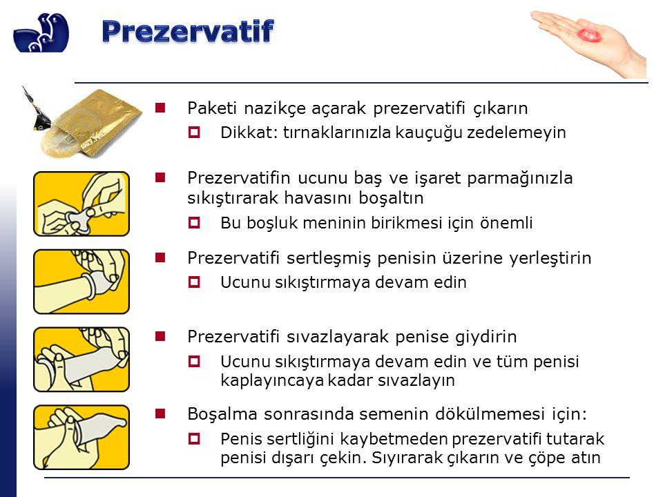 Paketi nazikçe açarak prezervatifi çıkarın  Dikkat: tırnaklarınızla kauçuğu zedelemeyin Prezervatifin ucunu baş ve işaret parmağınızla sıkıştırarak havasını boşaltın  Bu boşluk meninin birikmesi için önemli Prezervatifi sertleşmiş penisin üzerine yerleştirin  Ucunu sıkıştırmaya devam edin Prezervatifi sıvazlayarak penise giydirin  Ucunu sıkıştırmaya devam edin ve tüm penisi kaplayıncaya kadar sıvazlayın Boşalma sonrasında semenin dökülmemesi için:  Penis sertliğini kaybetmeden prezervatifi tutarak penisi dışarı çekin.