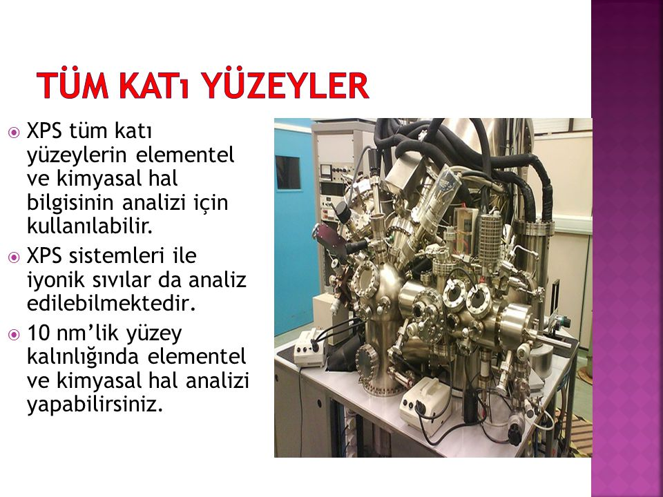 XPS tüm katı yüzeylerin elementel ve kimyasal hal bilgisinin analizi için kullanılabilir.  XPS sistemleri ile iyonik sıvılar da analiz edilebilmekt