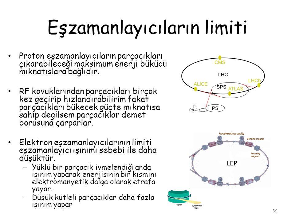 Eşzamanlayıcıların limiti Proton eşzamanlayıcıların parçacıkları çıkarabileceği maksimum enerji bükücü mıknatıslara bağlıdır. RF kovuklarından parçacı
