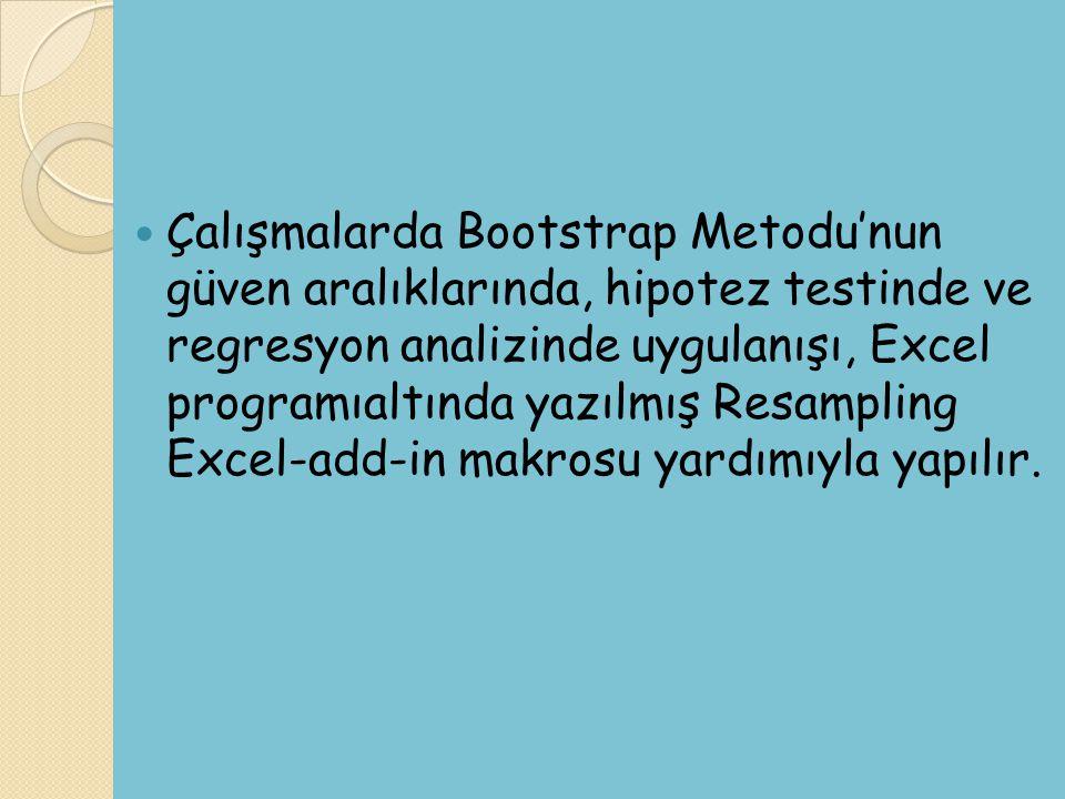 Çalışmalarda Bootstrap Metodu'nun güven aralıklarında, hipotez testinde ve regresyon analizinde uygulanışı, Excel programıaltında yazılmış Resampling