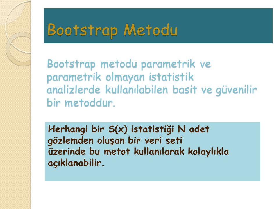 Bootstrap Metodu Bootstrap metodu parametrik ve parametrik olmayan istatistik analizlerde kullanılabilen basit ve güvenilir bir metoddur. Herhangi bir