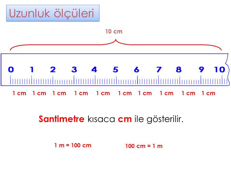 Uzunluk ölçüleri Uzunluk ölçüleri Santimetre kısaca cm ile gösterilir. 1 cm 10 cm 1 m = 100 cm 100 cm = 1 m
