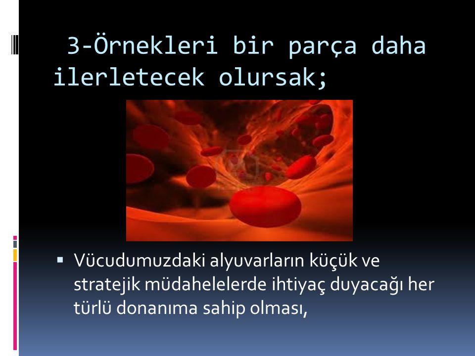 3-Örnekleri bir parça daha ilerletecek olursak;  Vücudumuzdaki alyuvarların küçük ve stratejik müdahelelerde ihtiyaç duyacağı her türlü donanıma sahip olması,